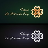Simple St Patricks Day Cards with Golden and Silver Clovers