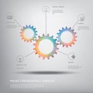 Cog wheel gear background for infographics template in modern lo
