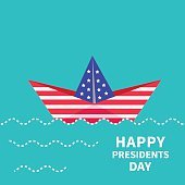 Presidents Day background Paper boat. Dash line