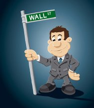 Wall Street Cartoon Businessman Sign