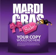 Mardi Gras sale shopping bag background