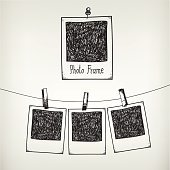 Vector hand drawn doodle illustration of retro photo frame