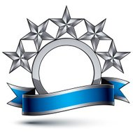 Heraldic vector template with five-pointed silver stars, 3d