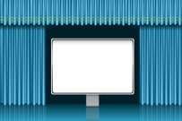 Presentation screen over blue curtain