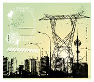 communication frame with city and antenna