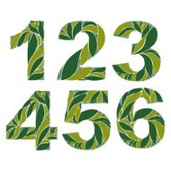 Spring floral numbers, decorative eco style digits