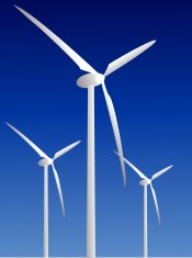 Wind power plants on blue background