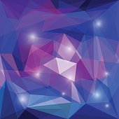 Abstract bright colored polygonal geometric triangular background with glaring lights
