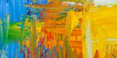 Abstract painted yellow and blue art backgrounds.