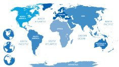 Blue World Map by Continents with globes