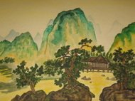 In tradition of Chinese art. Watercoloured painting.