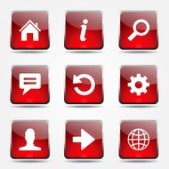 Web Internet Square Vector Red Icon Design Set