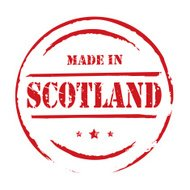 Red vector grunge stamp MADE IN SCOTLAND