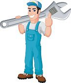 Cartoon mechanic holding a huge wrench