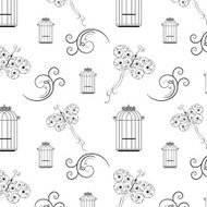 Seamless black and white pattern from tree branches,