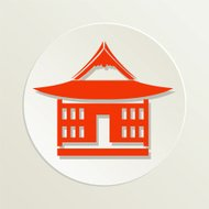 Sushi Restaurant Icon Japanese Style House