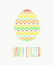 Colorful Happy Easter Greeting Card with Decorative Egg and Word