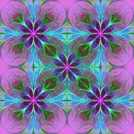 Pattern from fractal flowes in purple and blue.