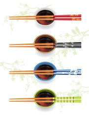 Chopsticks With Soy Sauce And Cherry Blossoms