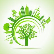 Ecology Concept - eco cityscape with tree. vector illustration