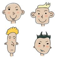 Set of four funny cartoon faces