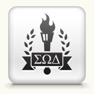 Square Button with Frat Torch Emblem