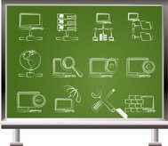 painted with chalk Network, Server and Hosting icons