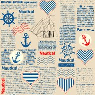 Imitation of newspaper in nautical style with grunge elements