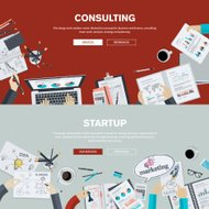 Flat design illustration concepts for business consulting and st