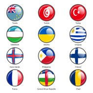 Set circle icon  Flags of world sovereign states.