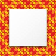 White paper banner over colorful pattern