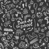 Vector seamless pattern with many school supplies