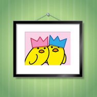 Couple of Yellow Chicks Wearing Party Hats in Picture Frame