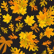 Autumn Oak and maple Leaves Seamless Pattern