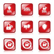Protection Web Internet Square Vector Red Icon Design Set