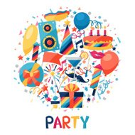 Celebration background with party icons and objects