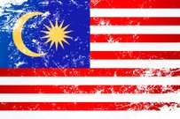 Light grunge effect flag of Malaysia