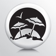 Round Icon With Beach Holiday Destination
