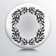 Round Icon With Olive Branches Wreath