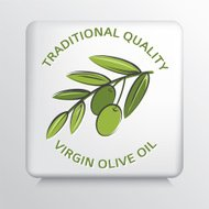Square Icon With Olive Branch