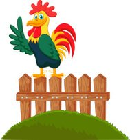 Cute rooster cartoon crowing on the fence