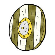 comic cartoon wooden shield
