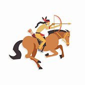 Native american indian warrior with bow and arrow riding horse