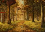 Oil Painting of Mushroom Forest During Rain