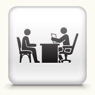 Square Button with Interview royalty free vector art