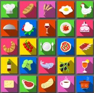 Twenty Five Square Flat Icon Italian Food