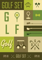 Vector Labels. Set golf icons on a grassy green background.