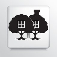 Square Icon With Treehouse - Eco Living Concept