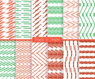 Bright and simple red red and green pattern set