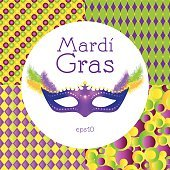 Mardi Gras. Mask, feathers, seamless pattern background